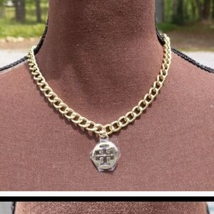 Gold tone Tory Burch Charm necklace!